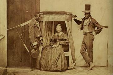 Senhora sendo carregada escravos Brasil
